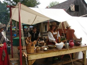 Nicholas Childs and Alice the Cook demonstrating period cooking at the Minnesota Renaissance Festival (2007).