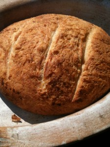 Rustic peasant bread before slicing