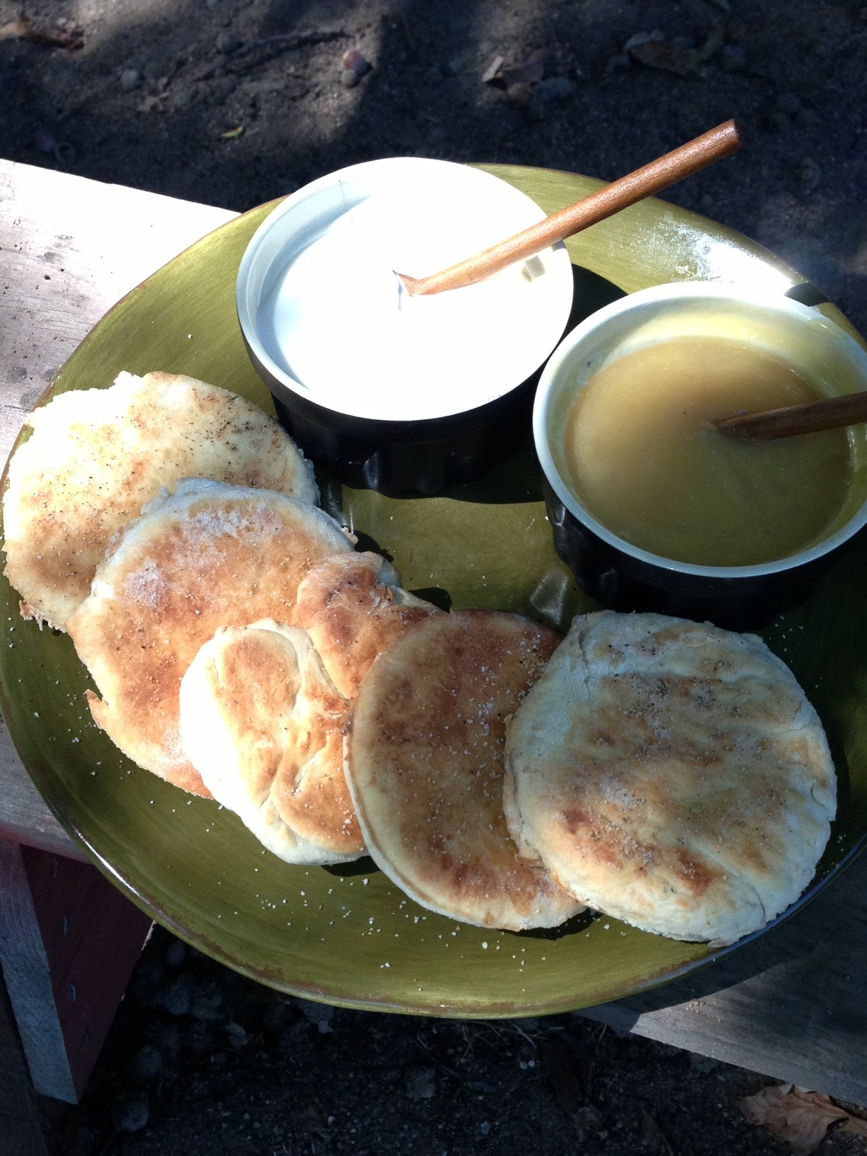 Crumpets with lemon curd and clotted cream